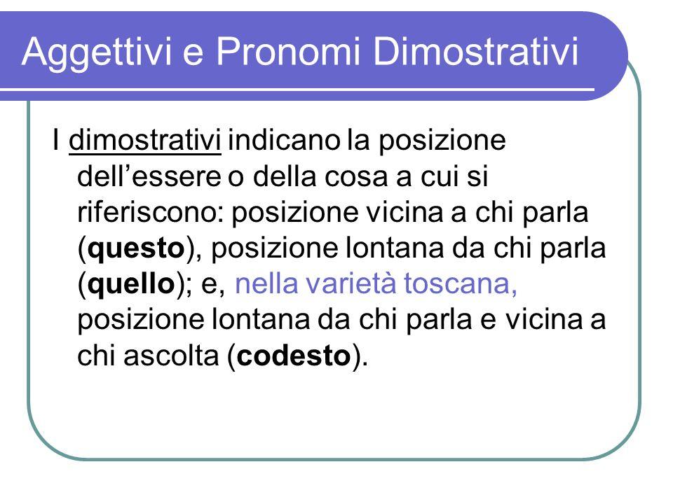 Aggettivi e Pronomi Dimostrativi I dimostrativi indicano la posizione dellessere o della cosa a cui si riferiscono: posizione vicina a chi parla (ques