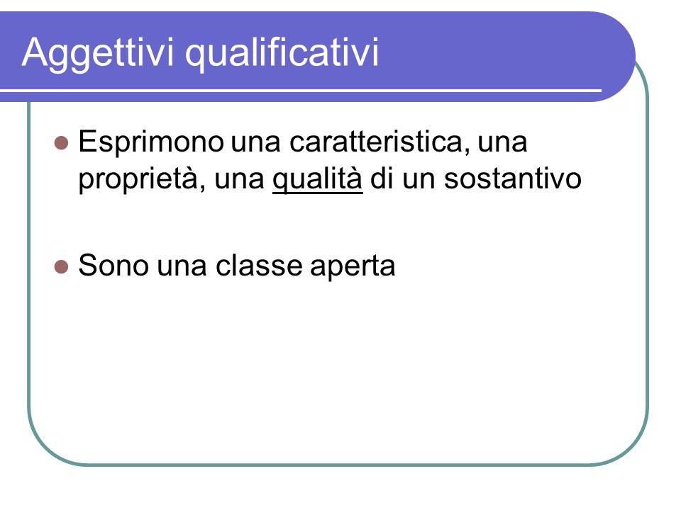 Aggettivi qualificativi Esprimono una caratteristica, una proprietà, una qualità di un sostantivo Sono una classe aperta