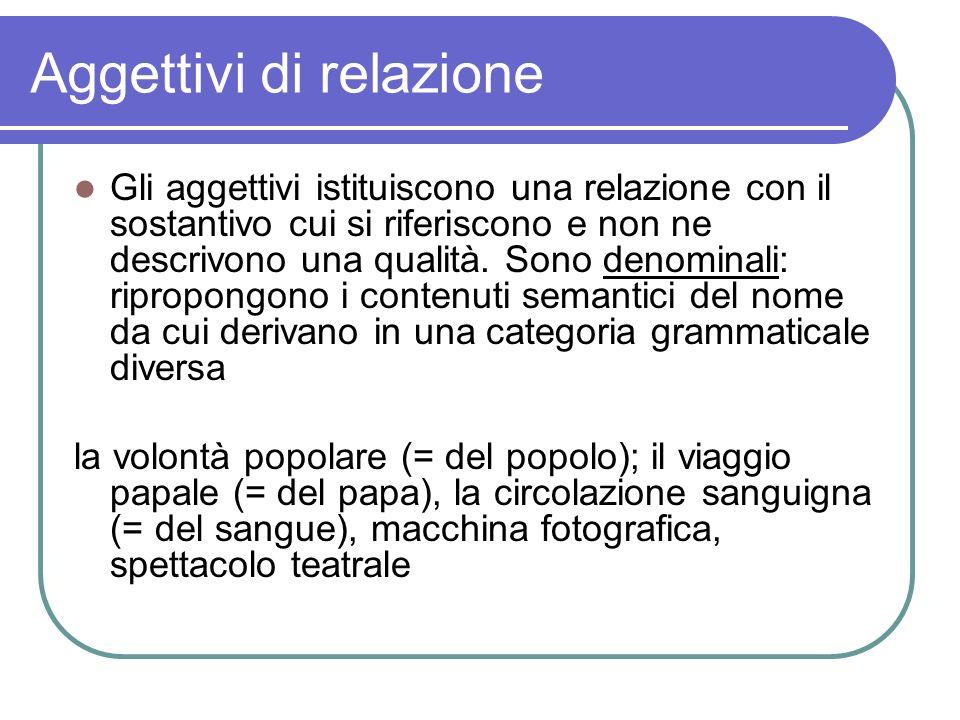 Aggettivi di relazione Gli aggettivi istituiscono una relazione con il sostantivo cui si riferiscono e non ne descrivono una qualità. Sono denominali: