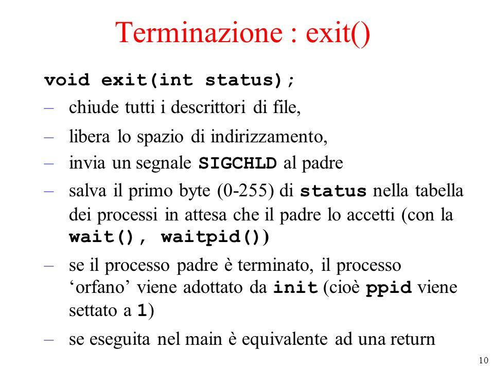 10 Terminazione : exit() void exit(int status); –chiude tutti i descrittori di file, –libera lo spazio di indirizzamento, –invia un segnale SIGCHLD al