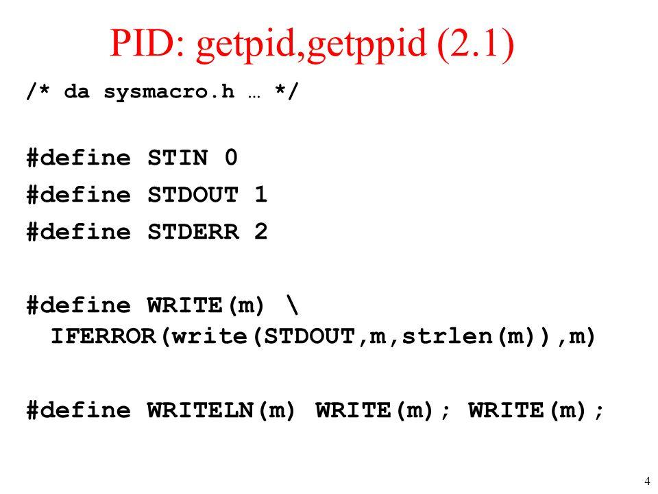 4 PID: getpid,getppid (2.1) /* da sysmacro.h … */ #define STIN 0 #define STDOUT 1 #define STDERR 2 #define WRITE(m) \ IFERROR(write(STDOUT,m,strlen(m)