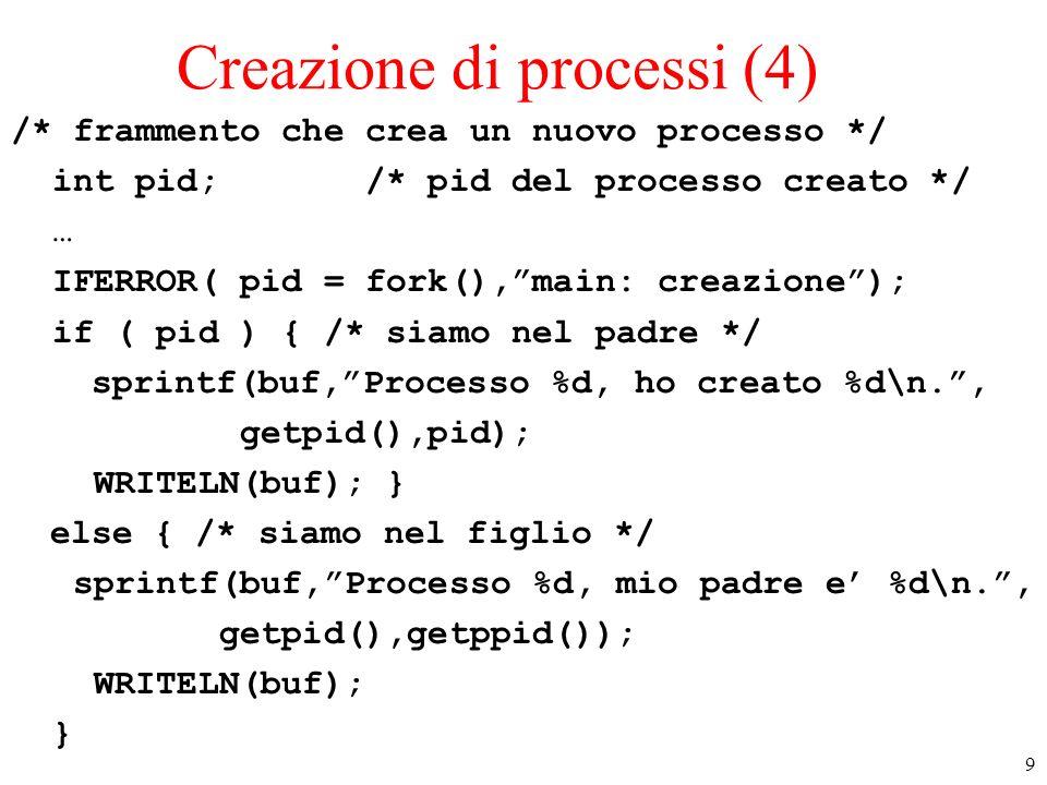 9 Creazione di processi (4) /* frammento che crea un nuovo processo */ int pid; /* pid del processo creato */ … IFERROR( pid = fork(),main: creazione)