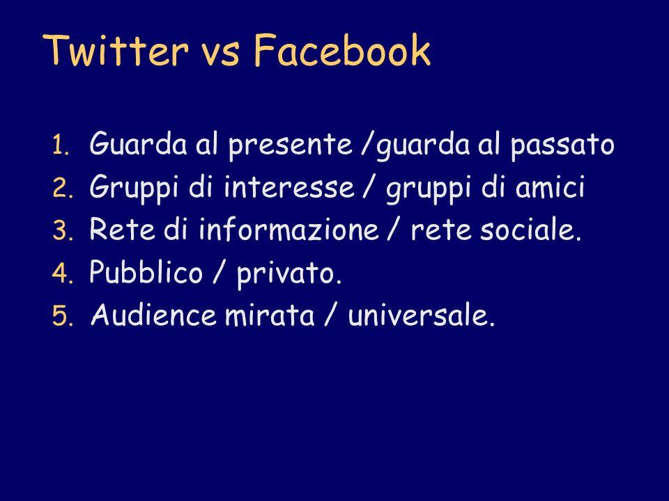 Twitter vs Facebook 1. Guarda al presente /guarda al passato 2. Gruppi di interesse / gruppi di amici 3. Rete di informazione / rete sociale. 4. Pubbl