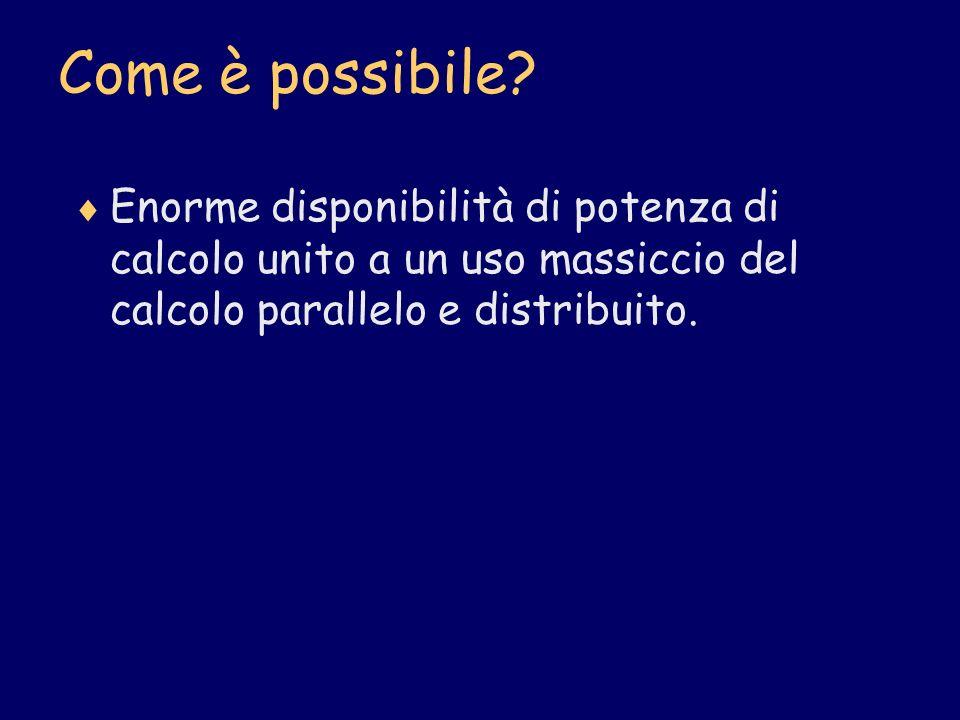 Come è possibile? Enorme disponibilità di potenza di calcolo unito a un uso massiccio del calcolo parallelo e distribuito.