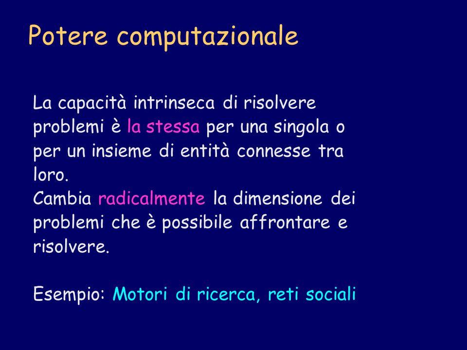 Potere computazionale La capacità intrinseca di risolvere problemi è la stessa per una singola o per un insieme di entità connesse tra loro. Cambia ra