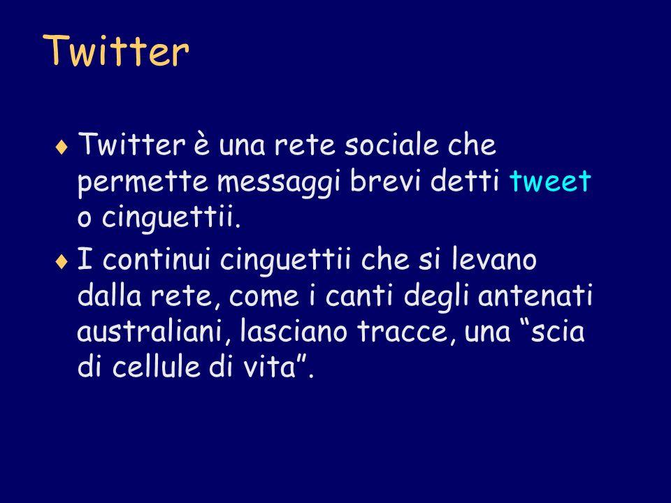 Twitter Twitter è una rete sociale che permette messaggi brevi detti tweet o cinguettii. I continui cinguettii che si levano dalla rete, come i canti