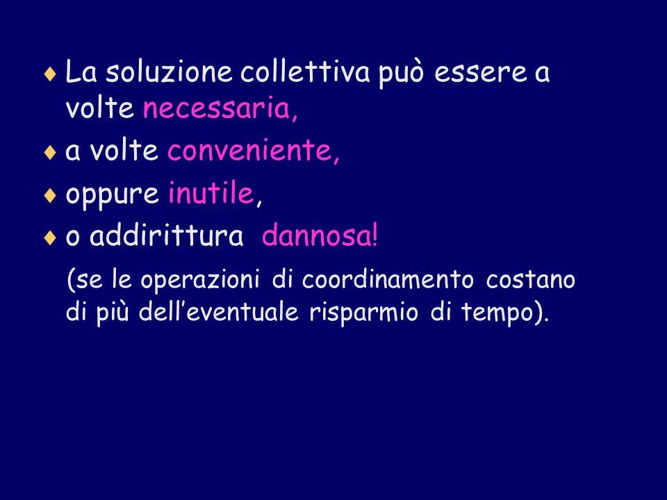 La soluzione collettiva può essere a volte necessaria, a volte conveniente, oppure inutile, o addirittura dannosa! (se le operazioni di coordinamento