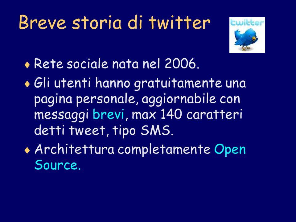 Breve storia di twitter Rete sociale nata nel 2006. Gli utenti hanno gratuitamente una pagina personale, aggiornabile con messaggi brevi, max 140 cara