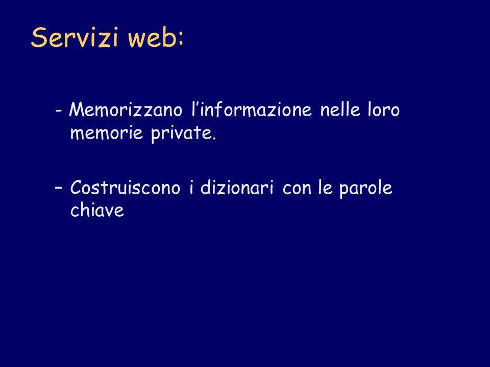 Servizi web: - Memorizzano linformazione nelle loro memorie private. –Costruiscono i dizionari con le parole chiave