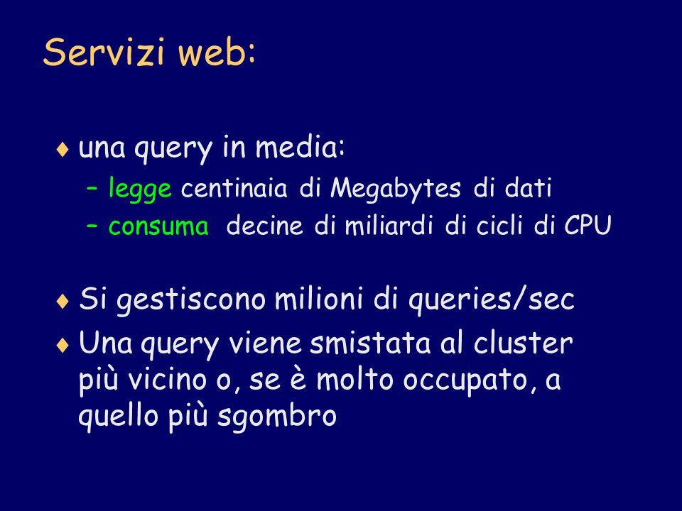 Servizi web: una query in media: –legge centinaia di Megabytes di dati –consuma decine di miliardi di cicli di CPU Si gestiscono milioni di queries/se