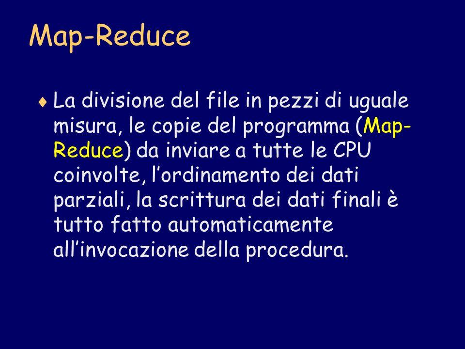 Map-Reduce La divisione del file in pezzi di uguale misura, le copie del programma (Map- Reduce) da inviare a tutte le CPU coinvolte, lordinamento dei