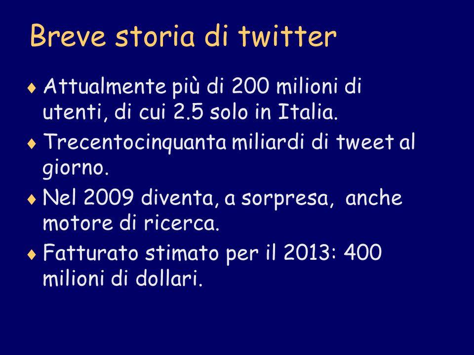 Breve storia di twitter Attualmente più di 200 milioni di utenti, di cui 2.5 solo in Italia. Trecentocinquanta miliardi di tweet al giorno. Nel 2009 d