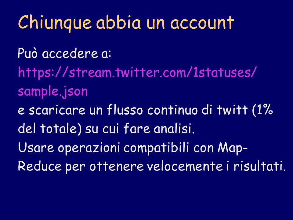 Chiunque abbia un account Può accedere a: https://stream.twitter.com/1statuses/ sample.json e scaricare un flusso continuo di twitt (1% del totale) su