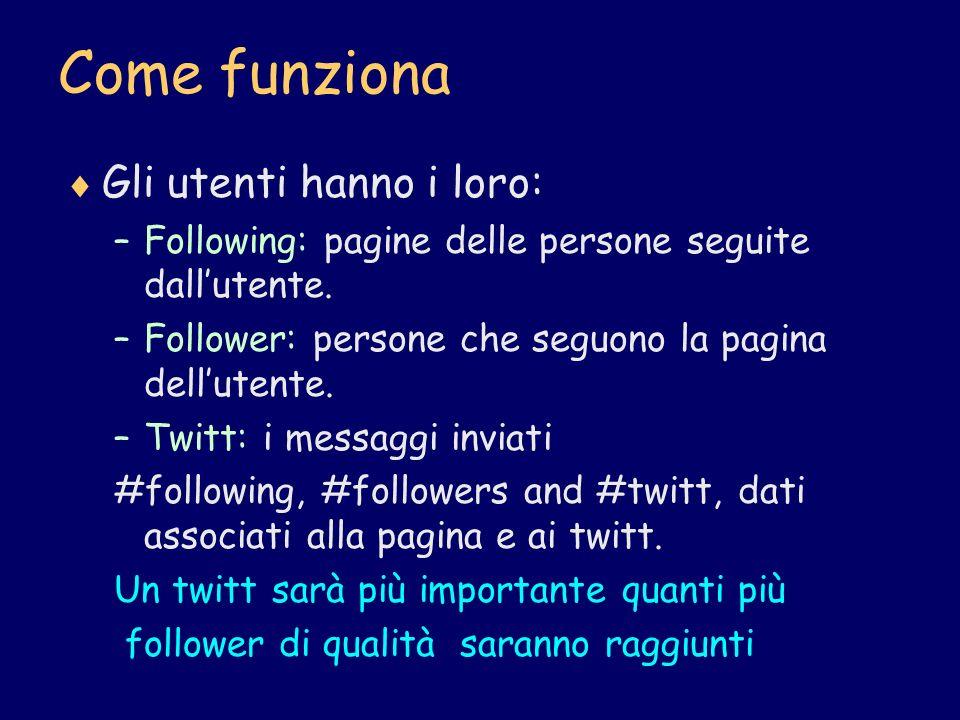 Come funziona Gli utenti hanno i loro: –Following: pagine delle persone seguite dallutente. –Follower: persone che seguono la pagina dellutente. –Twit