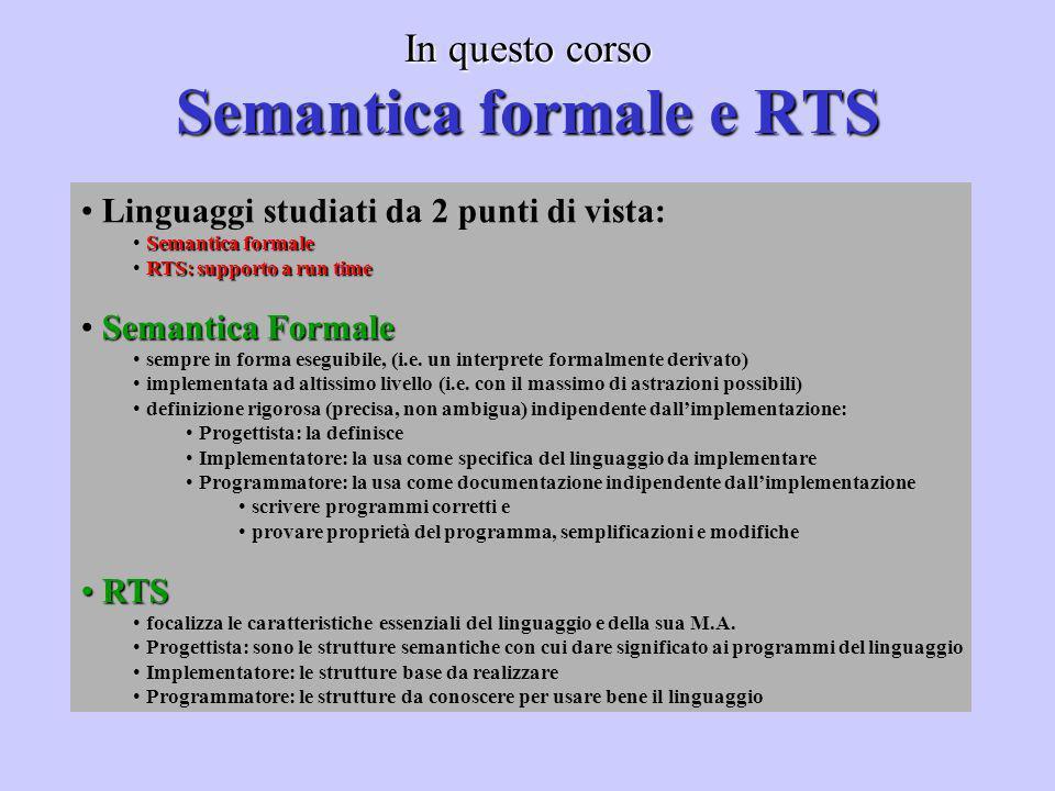 In questo corso Semantica formale e RTS Linguaggi studiati da 2 punti di vista: Semantica formale RTS: supporto a run time Semantica Formale sempre in