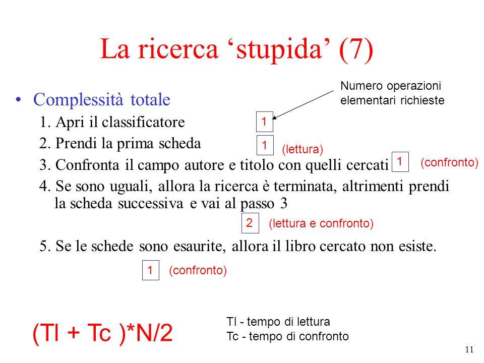 11 La ricerca stupida (7) Complessità totale 1.Apri il classificatore 2.