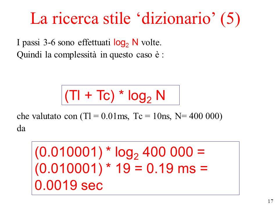 17 La ricerca stile dizionario (5) I passi 3-6 sono effettuati log 2 N volte.