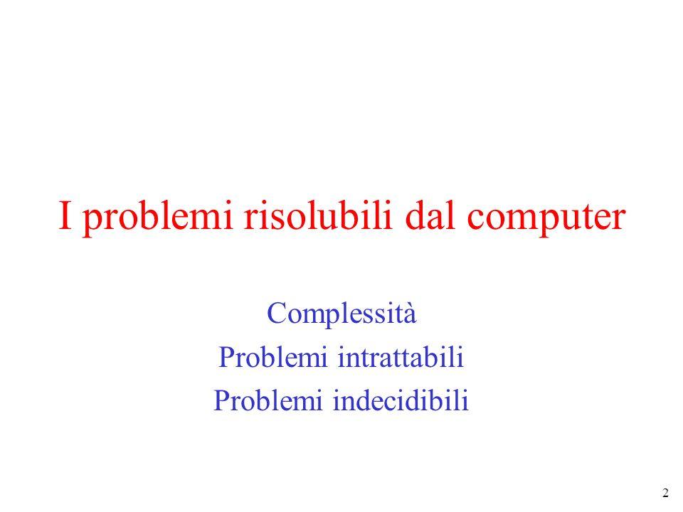 2 I problemi risolubili dal computer Complessità Problemi intrattabili Problemi indecidibili