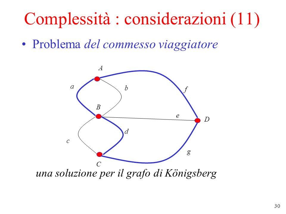 30 Complessità : considerazioni (11) Problema del commesso viaggiatore una soluzione per il grafo di Königsberg A B C D a b c d e f g