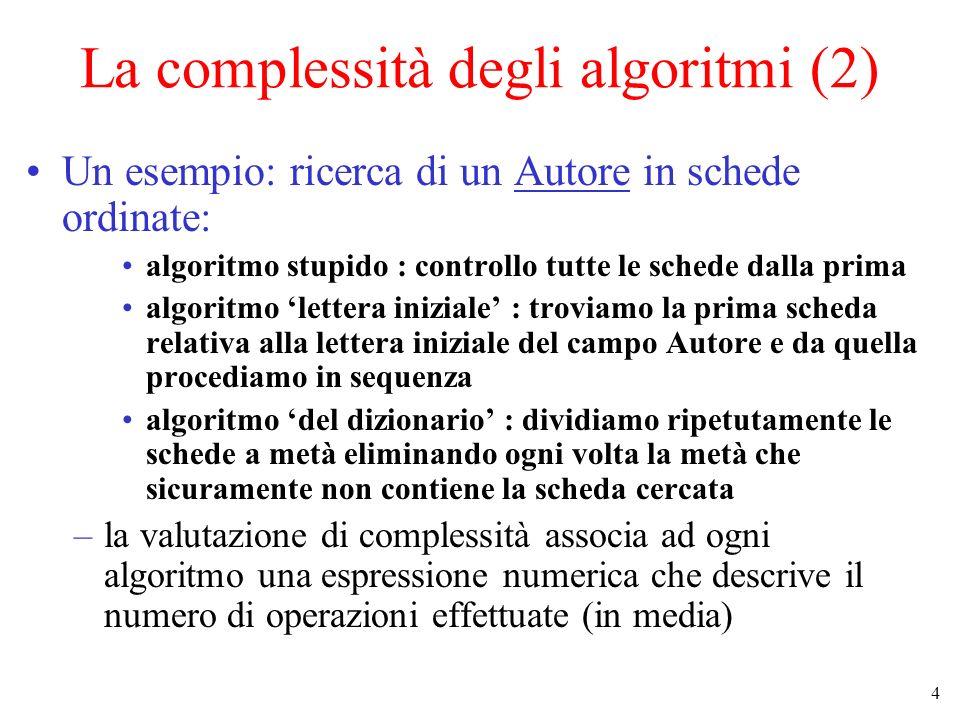4 La complessità degli algoritmi (2) Un esempio: ricerca di un Autore in schede ordinate: algoritmo stupido : controllo tutte le schede dalla prima algoritmo lettera iniziale : troviamo la prima scheda relativa alla lettera iniziale del campo Autore e da quella procediamo in sequenza algoritmo del dizionario : dividiamo ripetutamente le schede a metà eliminando ogni volta la metà che sicuramente non contiene la scheda cercata –la valutazione di complessità associa ad ogni algoritmo una espressione numerica che descrive il numero di operazioni effettuate (in media)