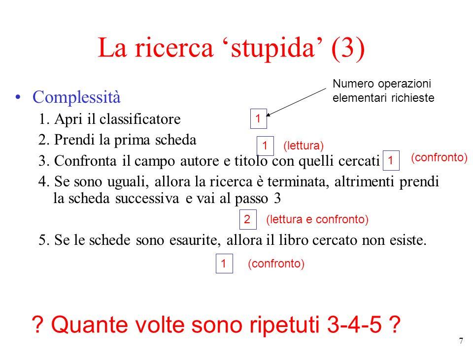 7 La ricerca stupida (3) Complessità 1.Apri il classificatore 2.