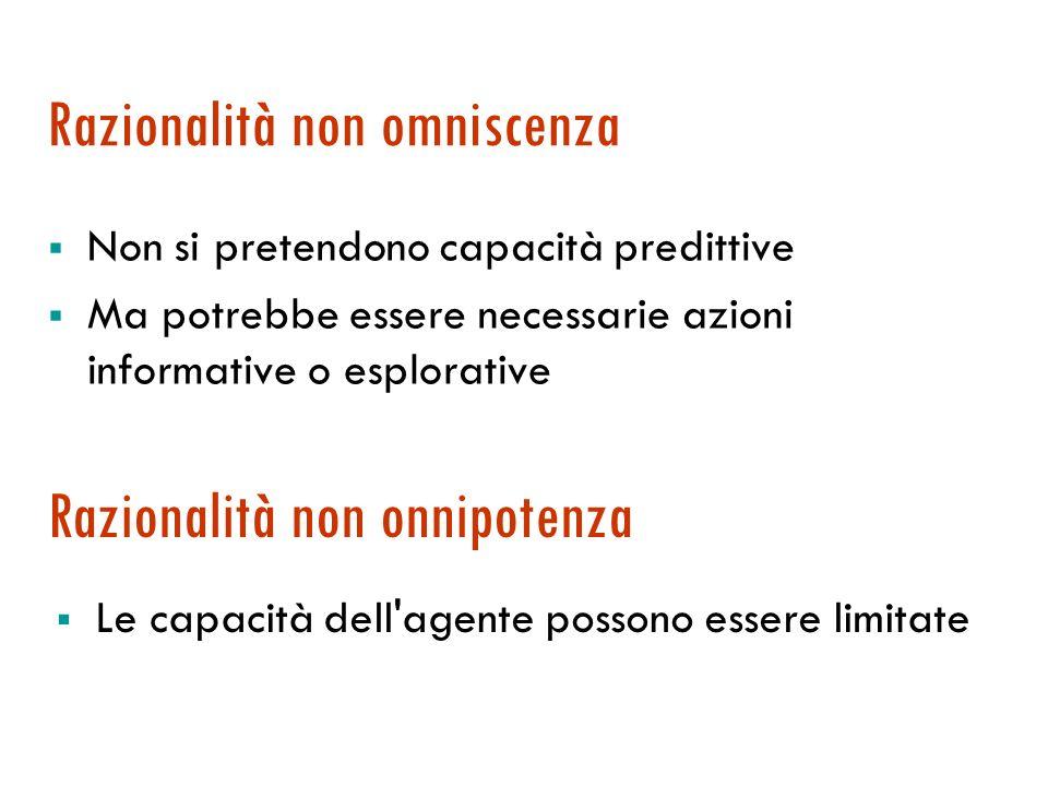 Agente razionale: definizione Agente razionale: per ogni sequenza di percezioni compie lazione che massimizza la sua misura delle prestazioni, conside