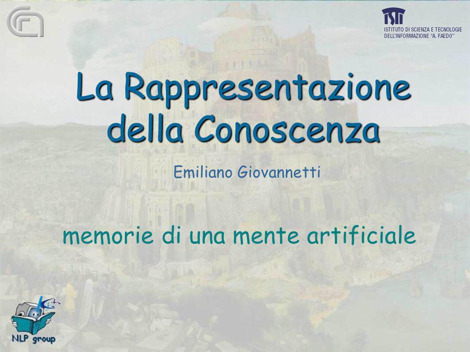 La Rappresentazione della Conoscenza memorie di una mente artificiale Emiliano Giovannetti