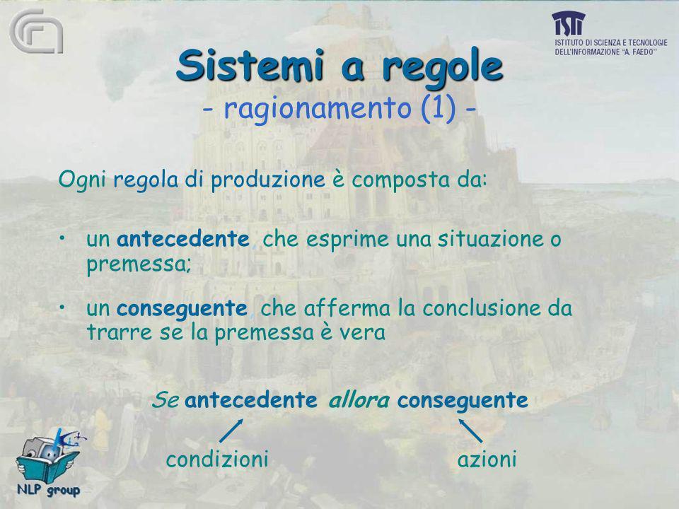 Sistemi a regole Sistemi a regole - ragionamento (1) - Ogni regola di produzione è composta da: un antecedente, che esprime una situazione o premessa;