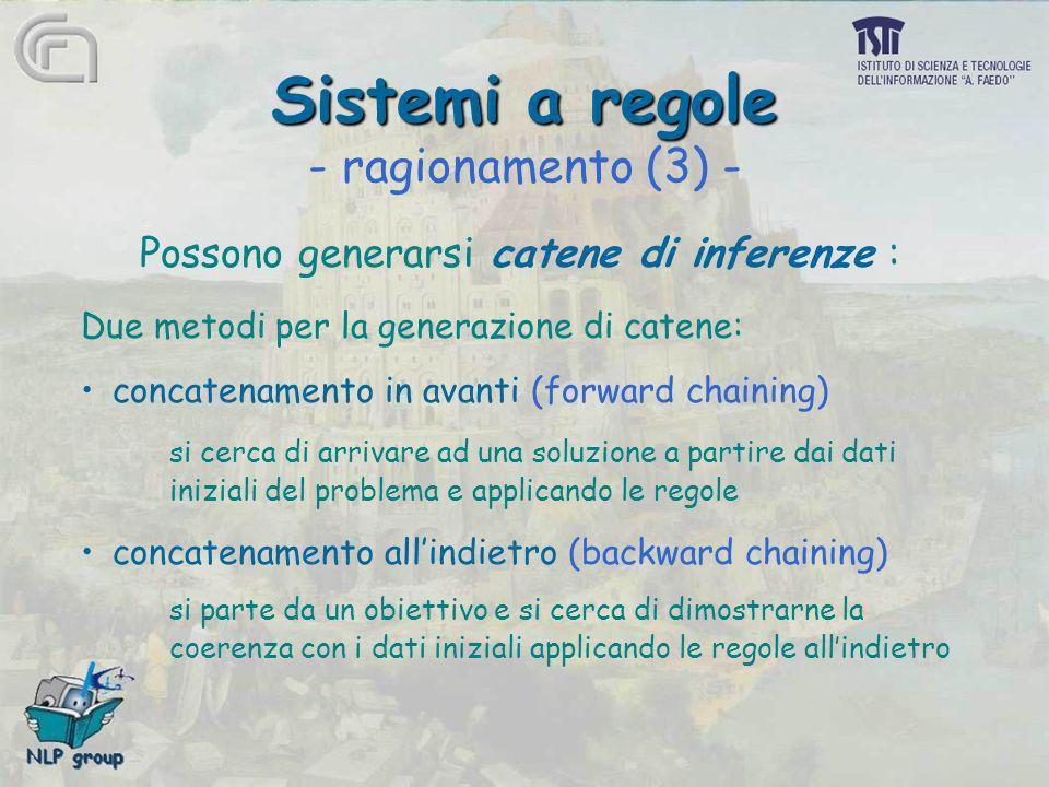Sistemi a regole Sistemi a regole - ragionamento (3) - Possono generarsi catene di inferenze : Due metodi per la generazione di catene: concatenamento