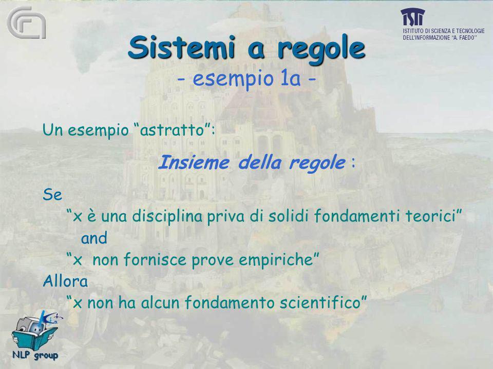 Sistemi a regole Sistemi a regole - esempio 1a - Un esempio astratto: Insieme della regole : Se x è una disciplina priva di solidi fondamenti teorici
