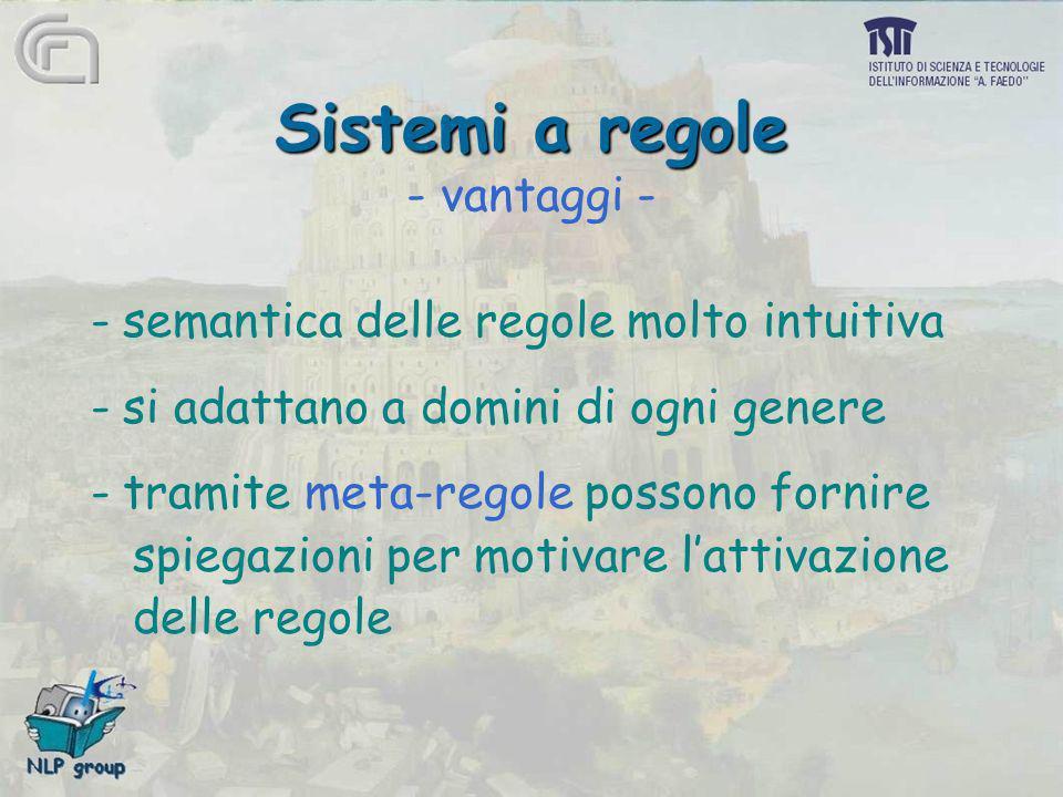 Sistemi a regole Sistemi a regole - vantaggi - -semantica delle regole molto intuitiva -si adattano a domini di ogni genere -tramite meta-regole posso