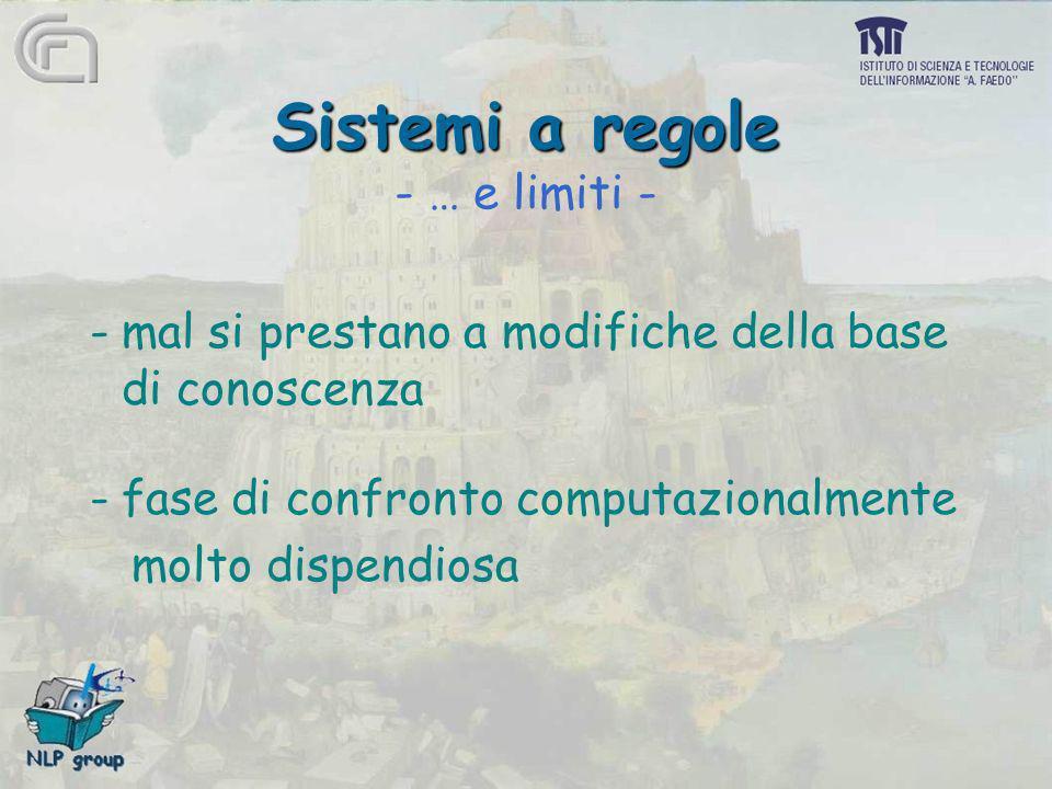 Sistemi a regole Sistemi a regole - … e limiti - -mal si prestano a modifiche della base di conoscenza -fase di confronto computazionalmente molto dis