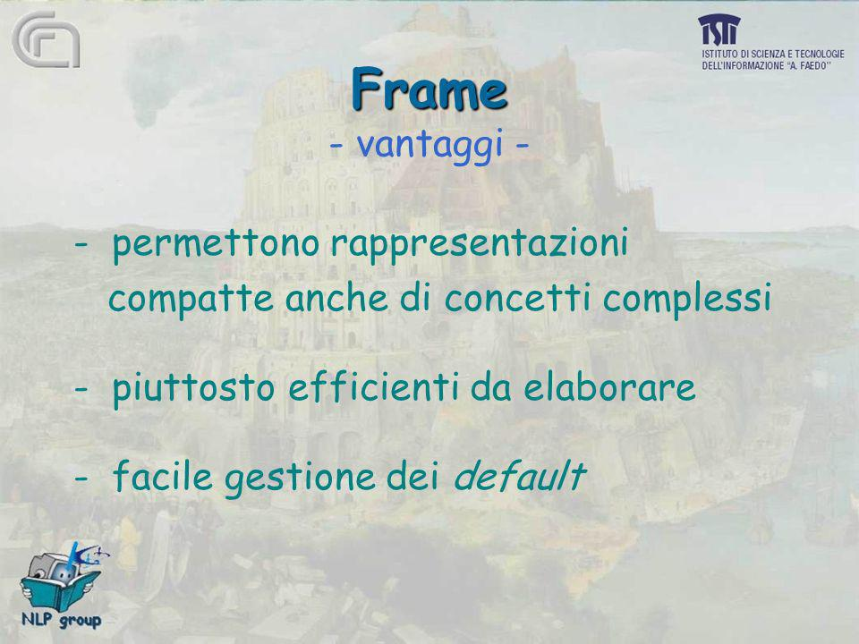 Frame Frame - vantaggi - - permettono rappresentazioni compatte anche di concetti complessi - piuttosto efficienti da elaborare - facile gestione dei