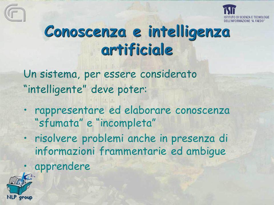 Conoscenza e intelligenza artificiale Un sistema, per essere considerato intelligente deve poter: rappresentare ed elaborare conoscenza sfumata e inco