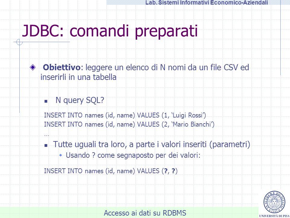 Accesso ai dati su RDBMS Lab. Sistemi Informativi Economico-Aziendali JDBC: comandi preparati Obiettivo: leggere un elenco di N nomi da un file CSV ed