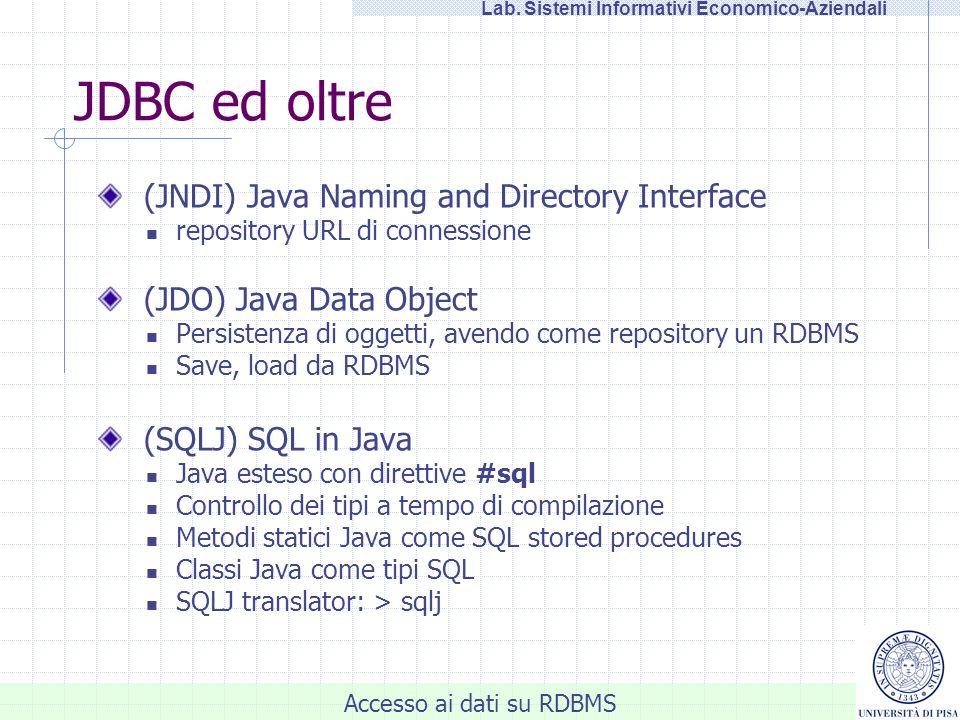 Accesso ai dati su RDBMS Lab. Sistemi Informativi Economico-Aziendali JDBC ed oltre (JNDI) Java Naming and Directory Interface repository URL di conne