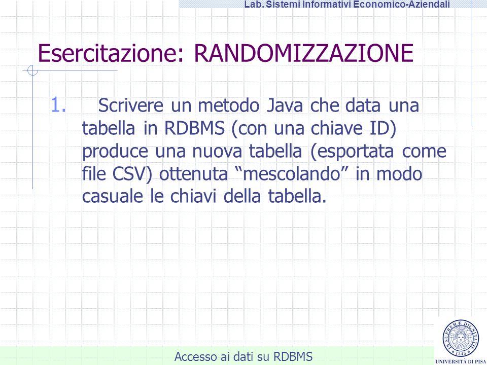 Accesso ai dati su RDBMS Lab. Sistemi Informativi Economico-Aziendali Esercitazione: RANDOMIZZAZIONE 1. Scrivere un metodo Java che data una tabella i