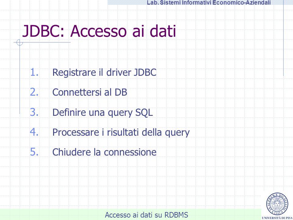 Accesso ai dati su RDBMS Lab. Sistemi Informativi Economico-Aziendali 1. Registrare il driver JDBC 2. Connettersi al DB 3. Definire una query SQL 4. P