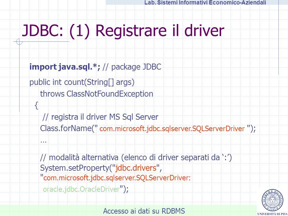 Accesso ai dati su RDBMS Lab. Sistemi Informativi Economico-Aziendali JDBC: (1) Registrare il driver import java.sql.*; // package JDBC public int cou