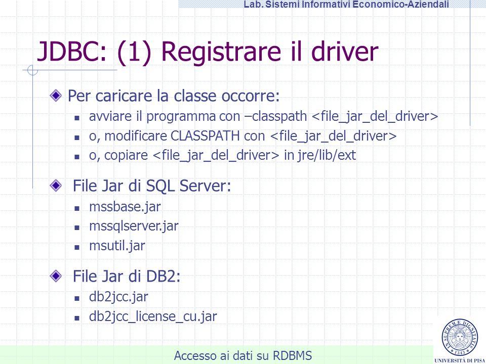 Accesso ai dati su RDBMS Lab. Sistemi Informativi Economico-Aziendali JDBC: (1) Registrare il driver Per caricare la classe occorre: avviare il progra