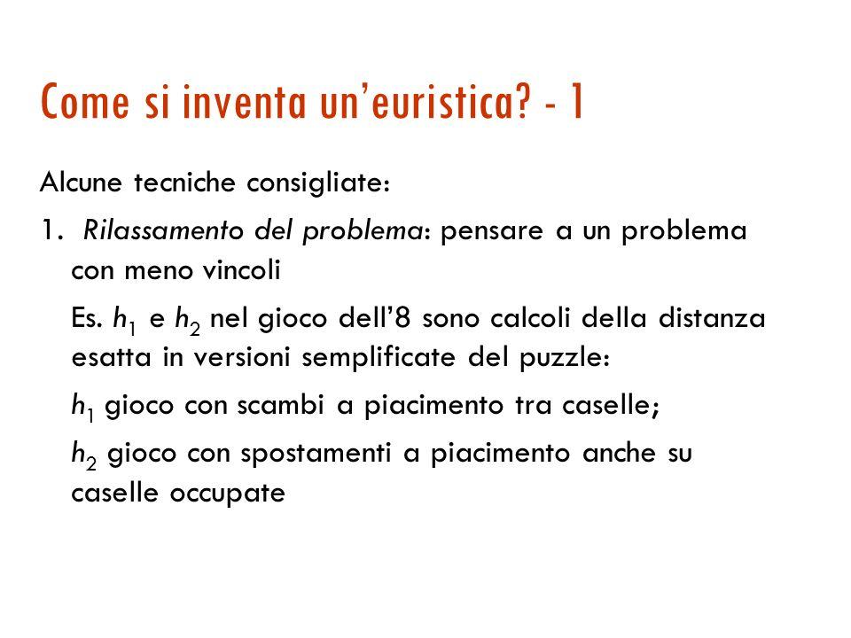 La lezione da imparare … 1. Tutti i problemi dellIA (o quasi) sono di complessità esponenziale … ma cè esponenziale e esponenziale! 2. Leuristica può