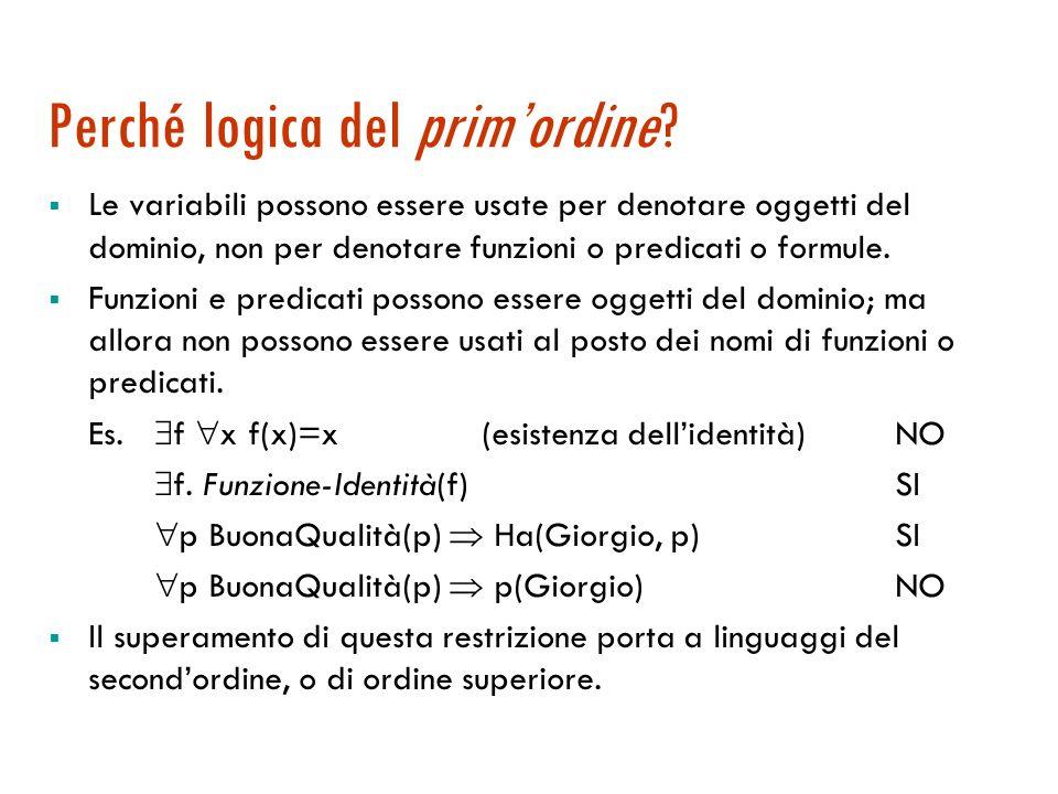 Il linguaggio: precedenza tra gli operatori Precedenza tra gli operatori logici: = > > > >, >, Es.