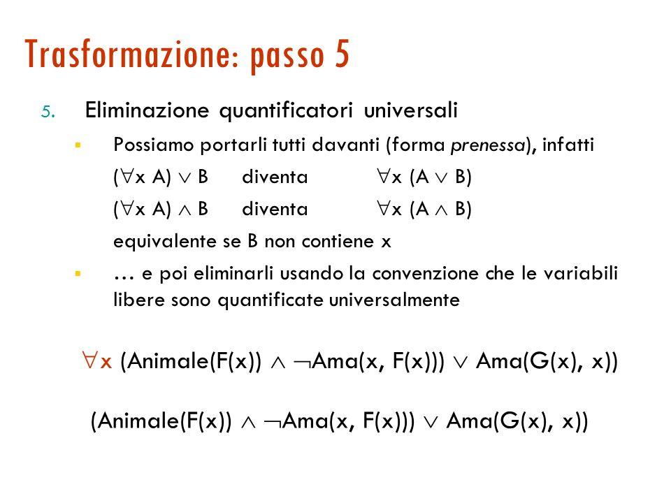 Trasformazione: passo 4 4. Skolemizzazione: eliminazione dei quantificatori esistenziali x ( y (Animale(y) Ama(x, y))) ( z Ama(z, x)) Ci sono due quan