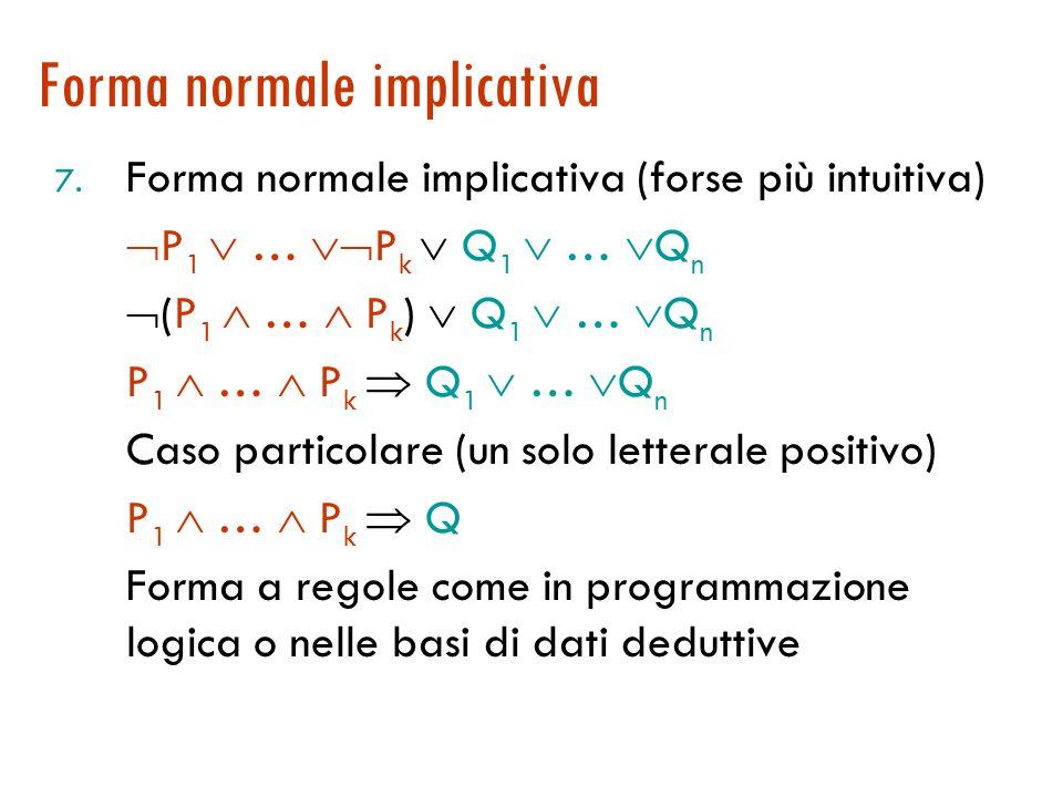 Trasformazione: passo 8 8. Separazione delle variabili: clausole diverse, variabili diverse Nota: x (P(x) Q(x)) x 1 P(x 1 ) x 2 Q(x 2 ) { Animale(F(x)