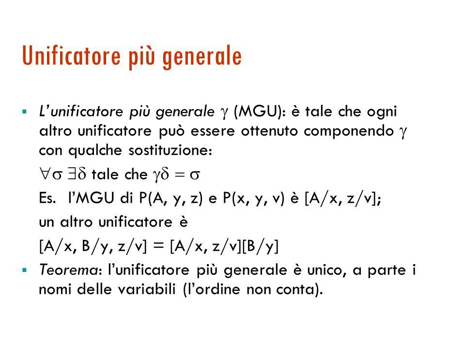 Composizione di sostituzioni Siano e due sostituzioni: = [t 1 /x 1, …, t k /x k ] e = [s 1 /y 1, …, s n /y n ] 1.