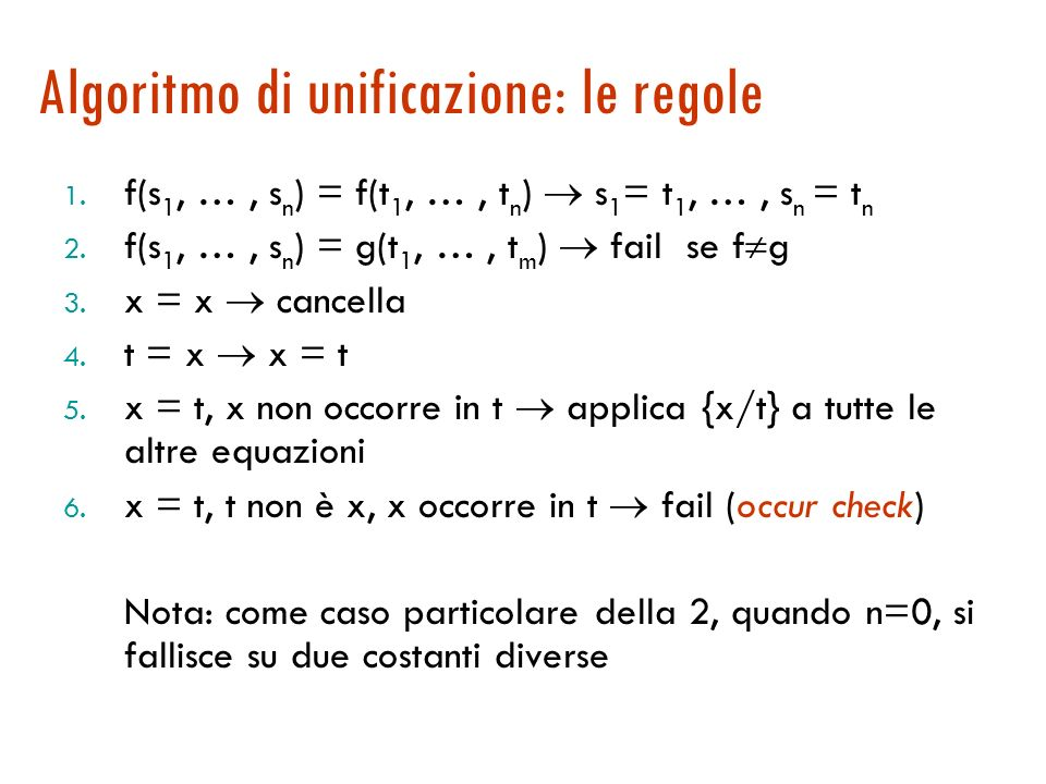 Algoritmo di unificazione [Martelli, Montanari, 1982] Calcola lMGU mediante un sistema a regole Allinizio la WM contiene lequazione che corrisponde al