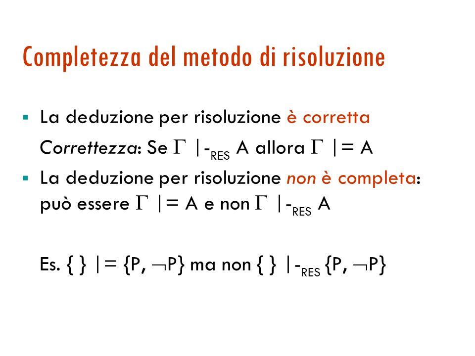 Problema dei fattori Le seguenti clausole dovrebbero produrre la clausola vuota invece … {P(u), P(v)} { P(x), P(y)} {P(v), P(y)} e qui ci si ferma Se un sottoinsieme dei letterali di una clausola può essere unificato allora la clausola ottenuta dopo tale unificazione si dice fattore della clausola originaria.