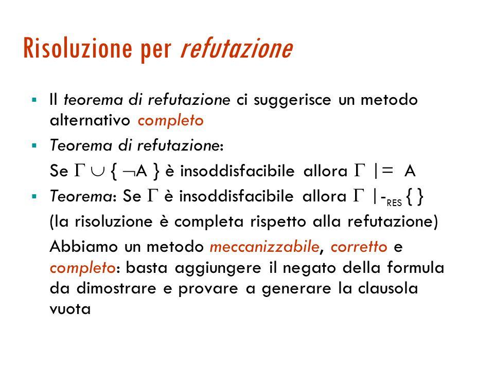 Completezza del metodo di risoluzione La deduzione per risoluzione è corretta Correttezza: Se |- RES A allora |= A La deduzione per risoluzione non è completa: può essere |= A e non |- RES A Es.