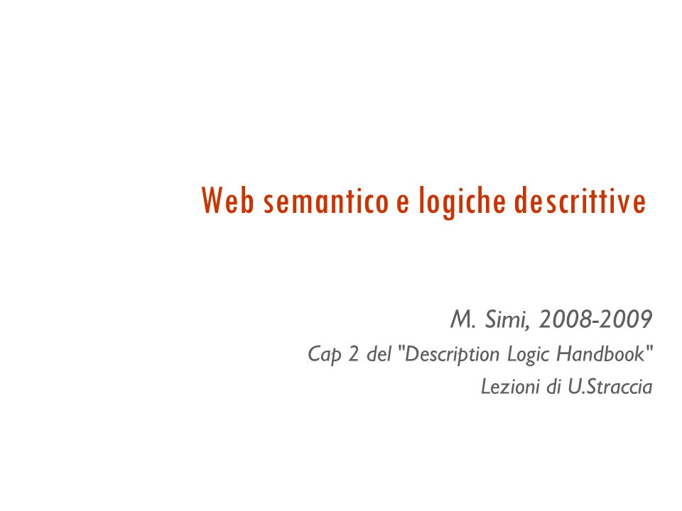 Web semantico e logiche descrittive M.