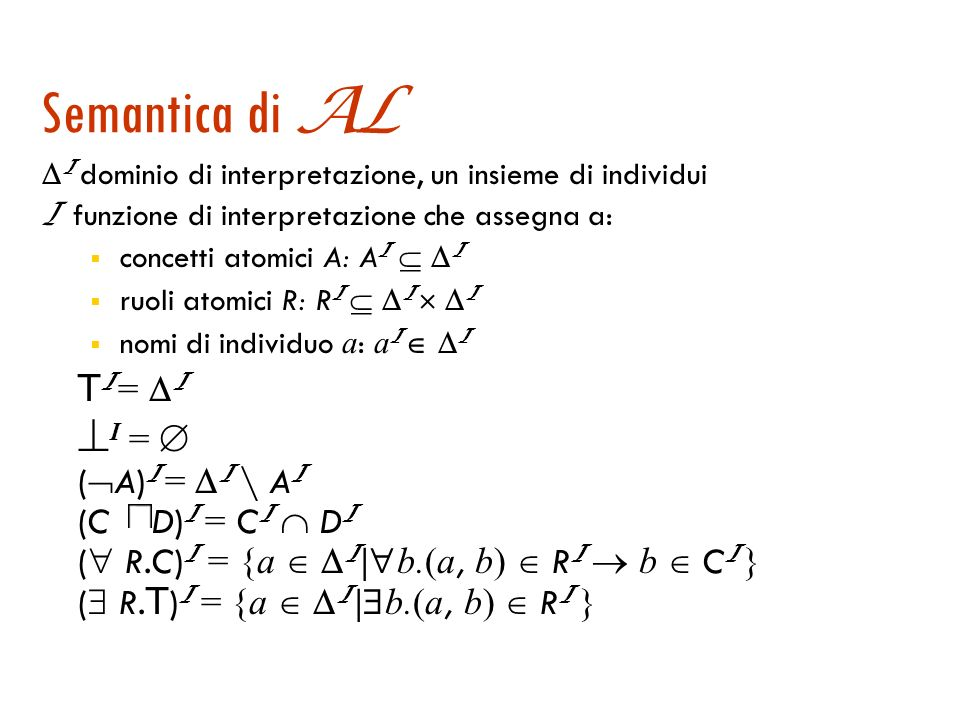 La logica AL : la sintassi dei termini A | T (top, concetto universale) | (bottom) | A (negazione atomica) | C D (intersezione) | R.C (restrizione di valore) | R.